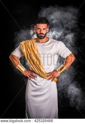 Bearded Greek God Or Roman Aristocrat Looking At Camera
