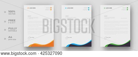 Corporate Modern Letterhead Design Template With Yellow, Blue And Green Color. Creative Modern Lette