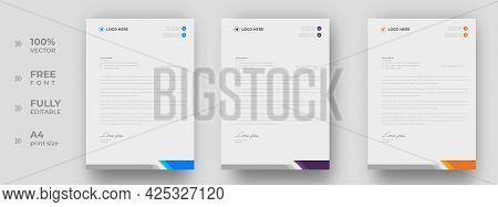 Corporate Modern Letterhead Design Template With Yellow, Blue And Purple Color. Creative Modern Lett