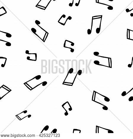 Abstract Music Notes On Seamless Pattern Background. Vector Musical Illustration Melody Decoration