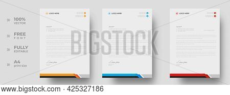 Corporate Modern Letterhead Design Template With Yellow, Blue And Red Color. Creative Modern Letter