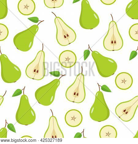 Seamless Pattern Green Pear Is Whole, Half And A Pear Slice On A White Background. Vector Illustrati