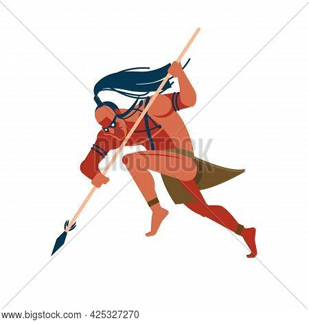 Warrior Of Indigenous African Tribes, An Australian And American Set Of Aborigines, A Member Of The