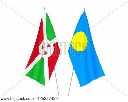 National Fabric Flags Of Palau And Burundi Isolated On White Background. 3d Rendering Illustration.