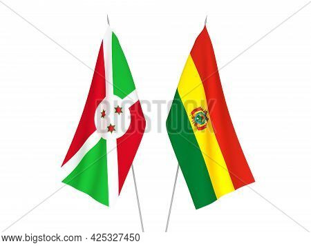 National Fabric Flags Of Bolivia And Burundi Isolated On White Background. 3d Rendering Illustration