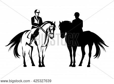 Professional Jockey Riding Standing Horse - Equestrian Sport Black And White Vector Outline And Silh