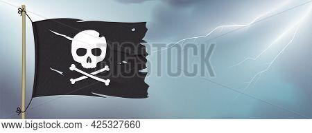 Pirate Flag Waving On Sky Lightning Background.