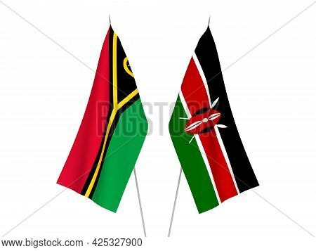 National Fabric Flags Of Kenya And Republic Of Vanuatu Isolated On White Background. 3d Rendering Il