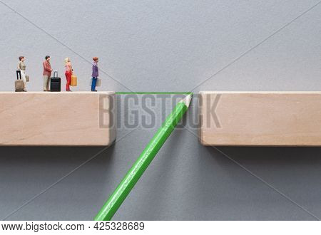 Miniiature Travellers With Luggage Waiting To Cross A Bridge Drawn By A Green Pencil