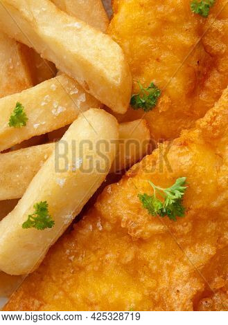 Deep Fried Fish And Chips Meal Close Up