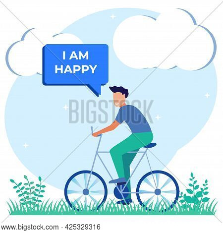 Flat Cartoon Colorful Vector Illustration. Happy Man Riding Bicycle In Park. Positive And Cheerful Y