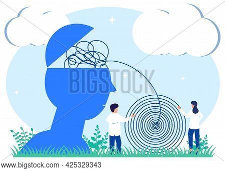 Vector Illustration Of Mental Health And Negative Sick Mind Treatment Mental Health Concept. Emotion