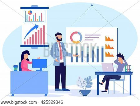 Business Conference Flat Style Vector Illustration. Boss And Employee Discussing Project. The Manage