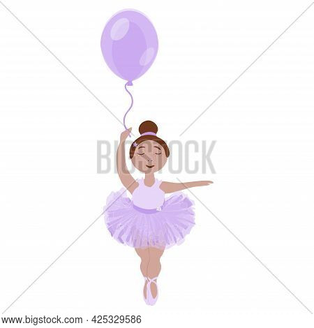 Vector Image Of A Little Ballerina Girl In A Lilac Tutu With A Balloon