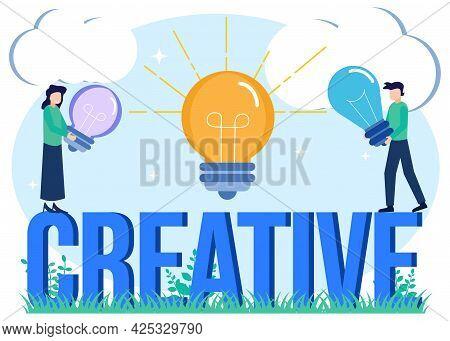 Innovative Light Bulb Flat Style Vector Illustration On Creative Idea Concept. Project Development W