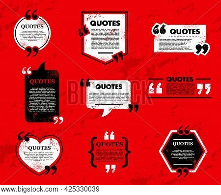 Quote Bubble And Box, Chat Message, Comment And Note Quote Icons. Vector Grunge Frames For Text On R