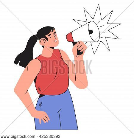 Female Character Shouting In Loudspeaker. Woman Holding Megaphone And Say Or Shout Speech Isolated O