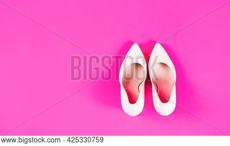 High Heel Women Shoes On Pink Background. Shoe For Women. Beauty And Fashion Concept. Fashionable Wo