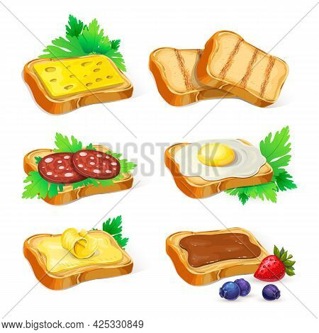 Set Of Different Toasts With Various Topping Isolated On White. Collection Of Wheat Sandwiches Illus