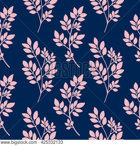 Navy Blue Pink Abstract Tree Branches Seamless Pattern. Plants Silhouette, Twigs With Leaves. Floral
