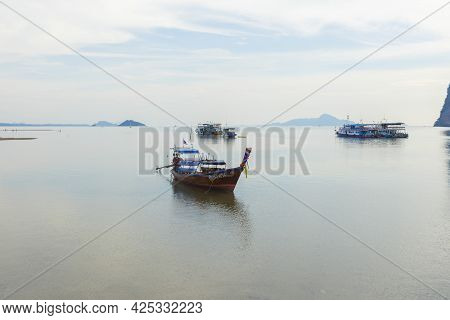 Trang, Thailand - Jan 1 ,2019 : Pristine View Of Boat Resting At Pak Meng Pier On January 1,2019 In