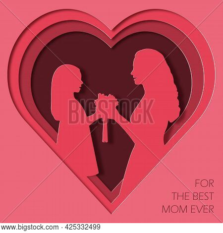 Paper Art And Kraft Style Greeting Card Happy Mother\'s Day. The Daughter Gives Flowers To Her Mothe
