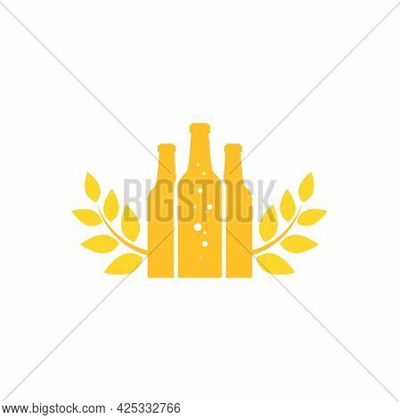Golden Beer Or Ale Bottle With Wheat Or Rye Laurel. Bar, Pub, Brew Symbol. Alcohol, Drinks Shop, Sto