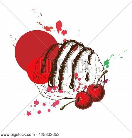 One Ice Cream Scoop With Cherry Flavor. Ice Cream Ball Hand Drawn Sketch With Cherries And Paint Spl