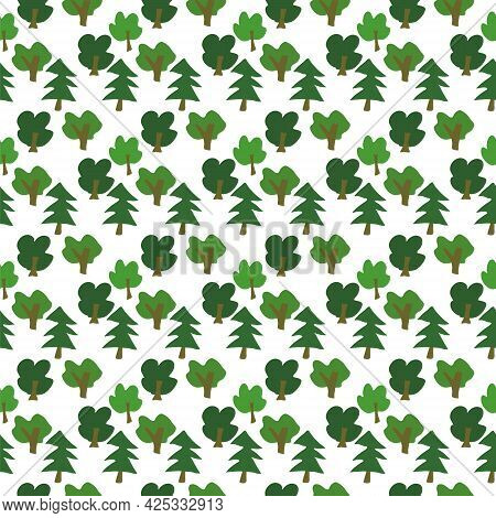 Vector Seamless Pattern With Green Primitive Trees. Natural Pattern, Children's Pattern