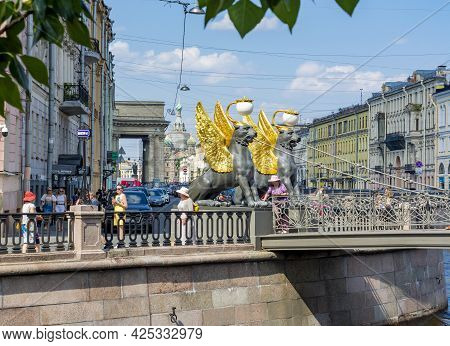 Saint Petersburg, Russia - June 2021: Bank Bridge With Golden-winged Griffons Over Griboyedov Canal