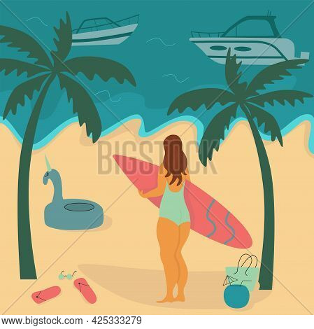 Young Body Positive Woman With Surfboard On Beach. Summer Vacation Seaside Concept. Vector Stock Ill