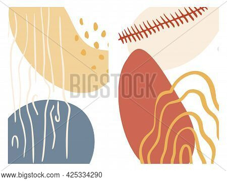 Abstract Organic Shape And Hand Draw Line Background Set In Pastel Colors. Modern Collage For Poster