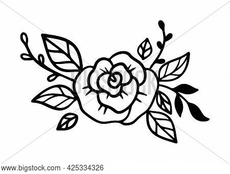 Doodle Flower Diadem With Rose And Leaves. Floral Crown In Line Art Style. Bouquet For Headband For