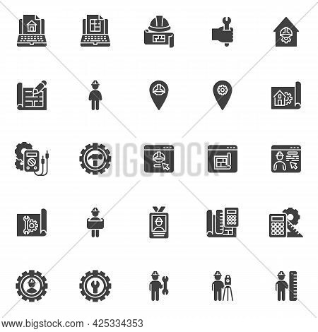 Engineering Service Vector Icons Set, Modern Solid Symbol Collection, Filled Style Pictogram Pack. S