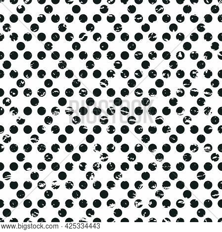 Seamless Abstract Pattern Of Circles And Dots On White. Decorative Wallpaper, Good For Printing. Vec