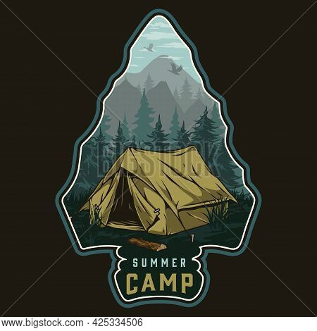 Summer Camping Colorful Vintage Label With Tent Forest And Mountains Landscape Inside Arrowhead Silh