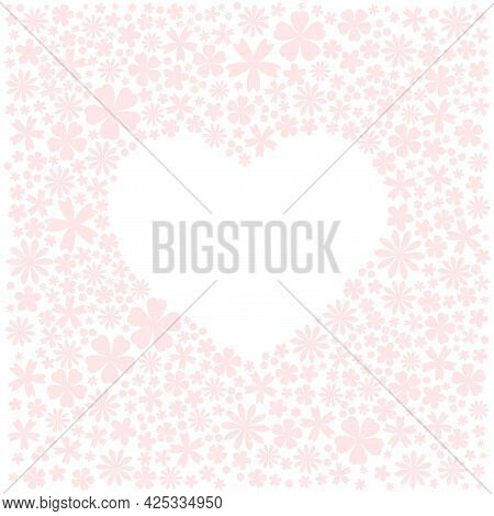 Greeting Card With White Flower Heart Frame For Text. Pastel Pink Tender Color. Vector Flat Wedding