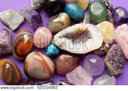 Gems Of Various Colors. Geode Amethyst, Rose Quartz, Agate, Apatite, Aventurine, Olivine, Turquoise,