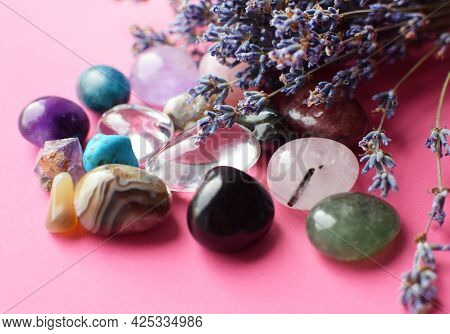 Beautiful Amethyst Crystals And Round Rose Quartz Stone With Dry Lavender Bouquet. Agate, Apatite, A