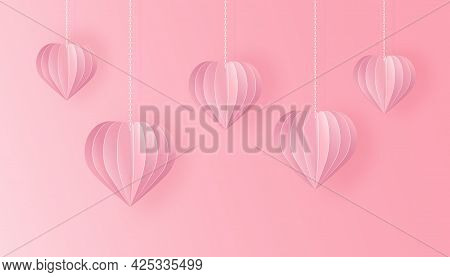 Paper Art And Craft Style Background With Love Symbols. Cut Out Paper 3d Hearts Hanging On Chains On