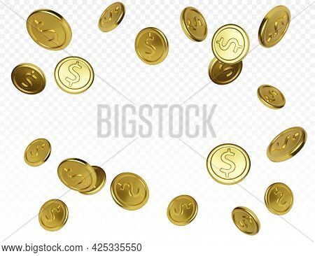 Jackpot Or Casino Poker Win Element. Realistic Gold Coin On Transparent Background. Cash Treasure Co