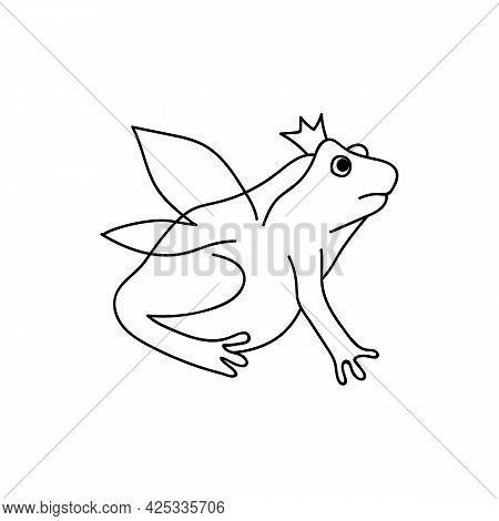 Single Hand Drawn Frog With Wings And Crown. Funny Toad. Doodle Vector Illustration. Isolated On A W