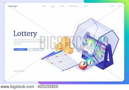 Lottery Isometric Landing Page. Wheel Drum Machine With Lotto Balls Inside, Tickets With Crossed Luc