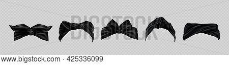 Set Of Bandana Or Hair Scarf, Black Colored Turban Kerchief Headwear 3d Mockup. Wrap Hats Different