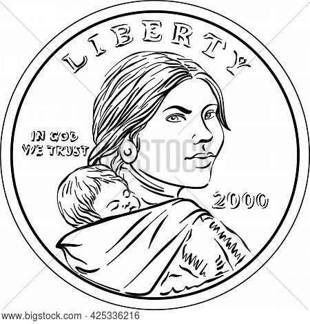 American Money Sacagawea Dollar, Black And White, Sacagawea And Her Child On Obverse