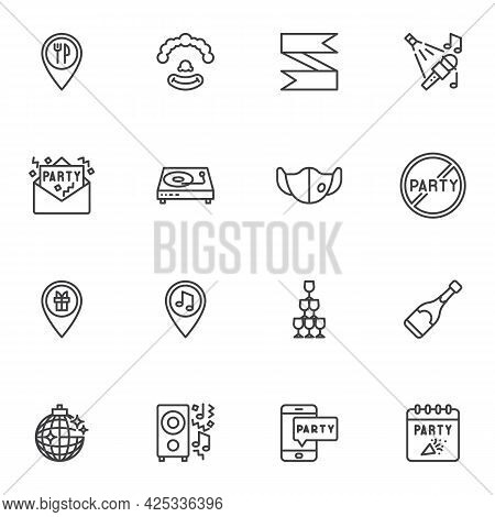 Entertainment Party Line Icons Set, Outline Vector Symbol Collection, Linear Style Pictogram Pack. S