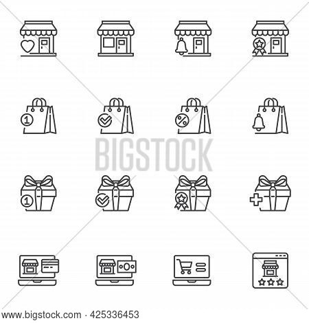 E-commerce, Online Shopping Line Icons Set, Outline Vector Symbol Collection, Linear Style Pictogram