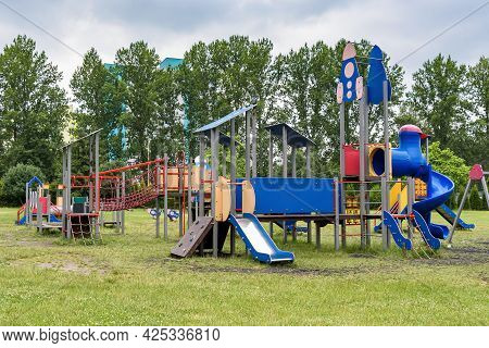 View Of The Empty Outdoor Children Playground On A Cloudy Day