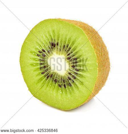 Fresh Half Kiwi Fruit Isolated On White Background