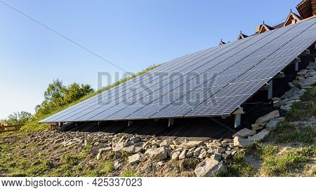 View Of Modern Ground Mounted Photovoltaic Power Station